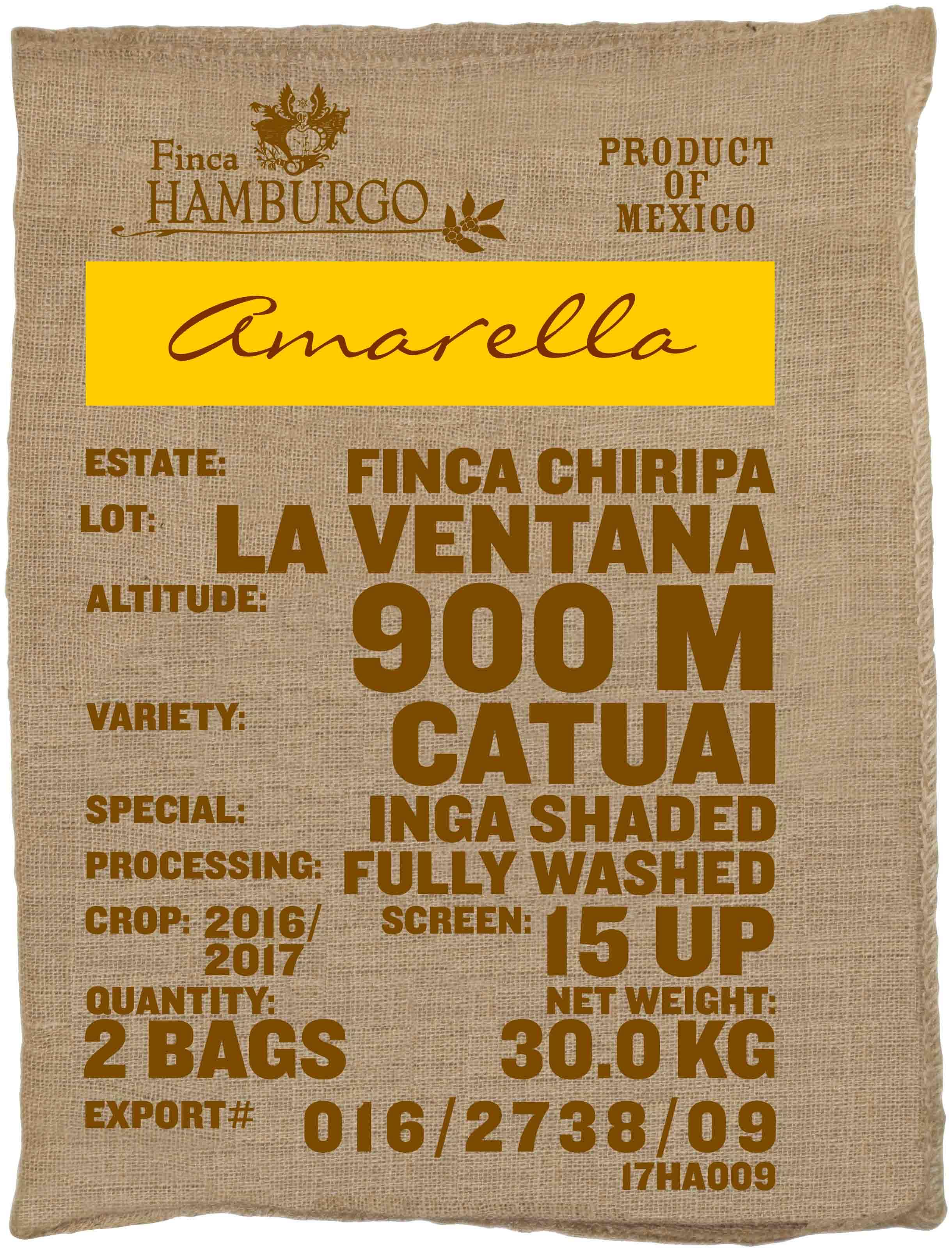 Ein Rohkaffeesack amarella Parzellenkaffee Varietät Catuai. Finca Chiripa Lot La Ventana.