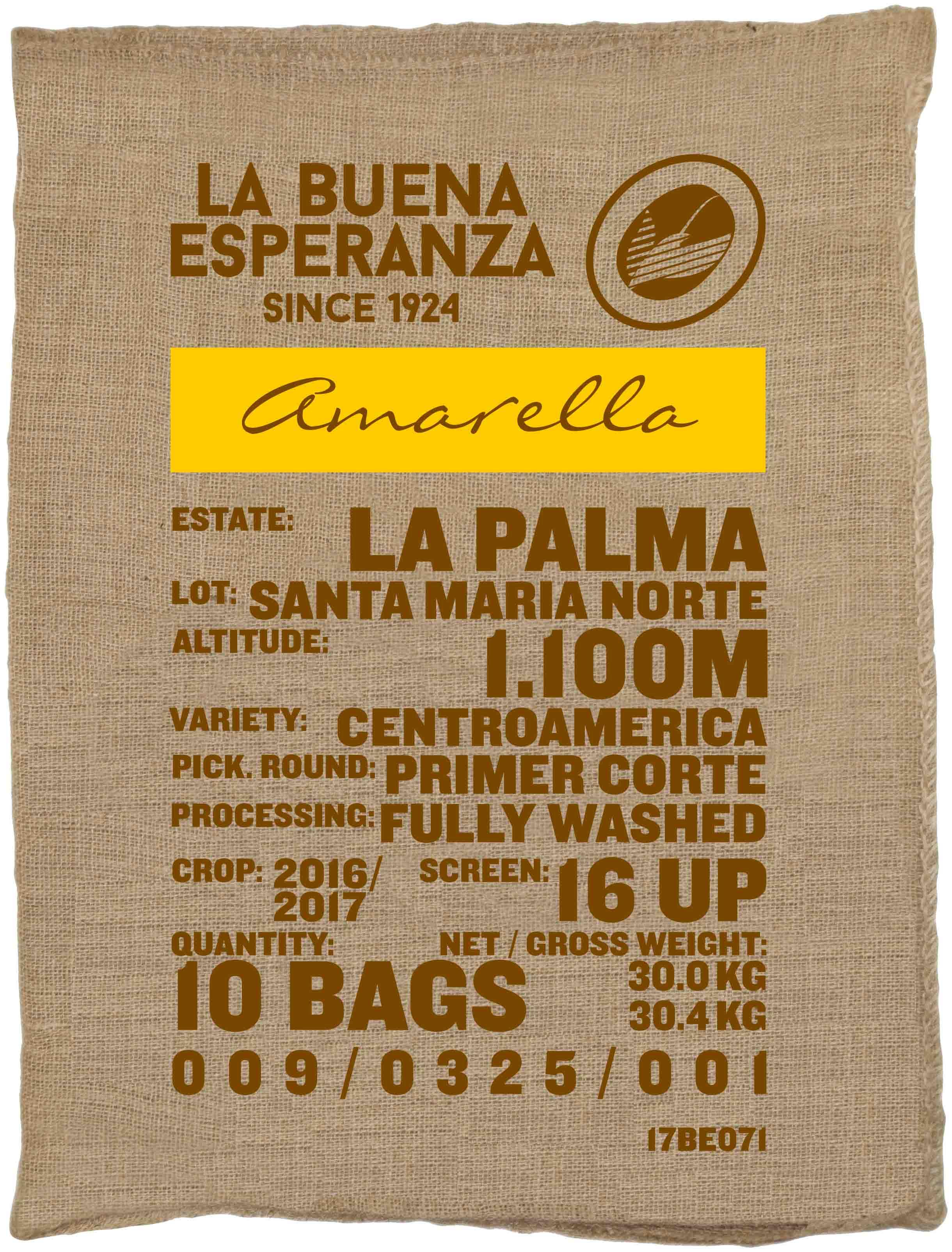 Ein Rohkaffeesack amarella Parzellenkaffee Varietät Centroamerica. Finca La Buena Esperanza Lot Santa Maria Norte.