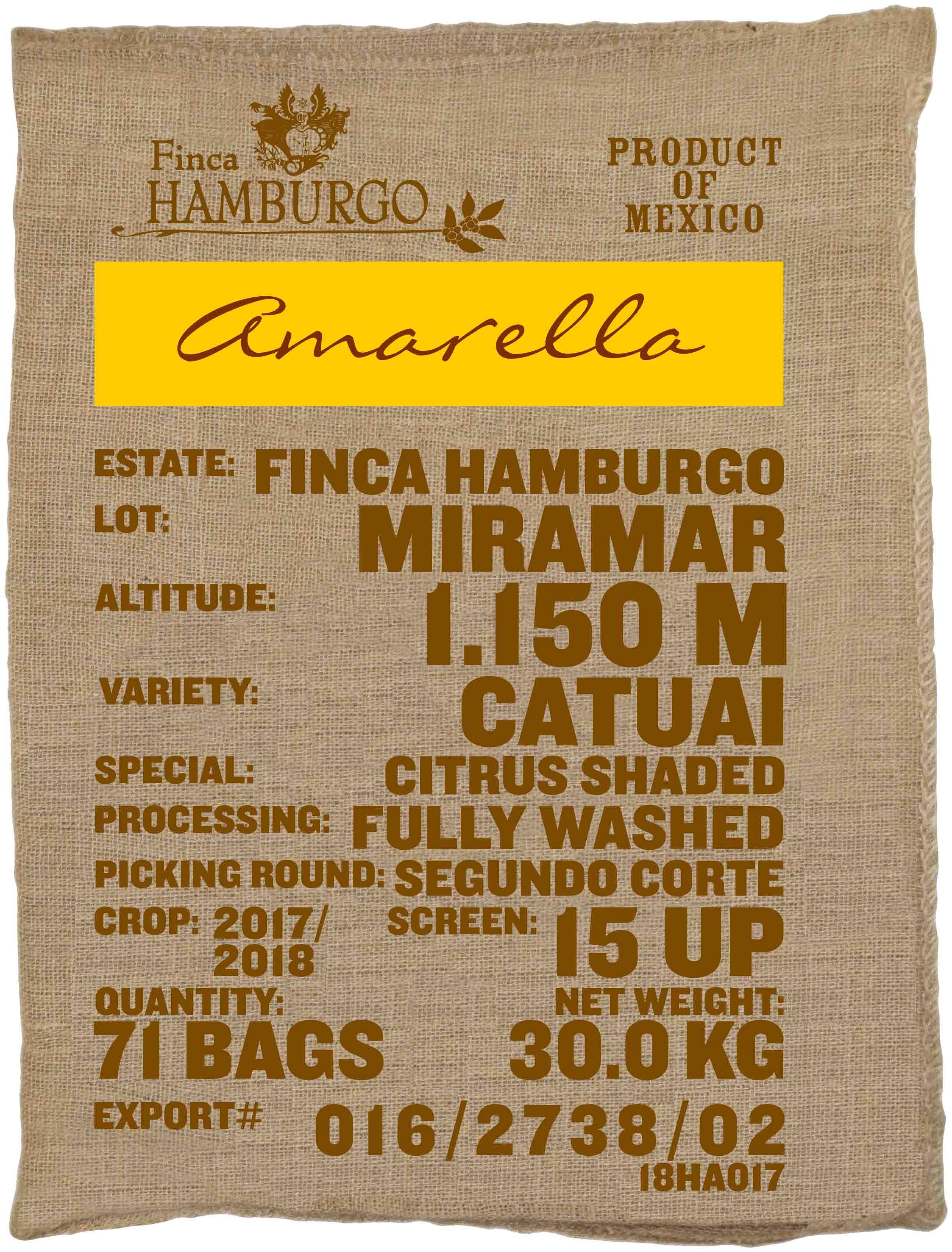 Ein Rohkaffeesack amarella Parzellenkaffee Varietät Catuai. Finca Hamburgo Lot Miramar.