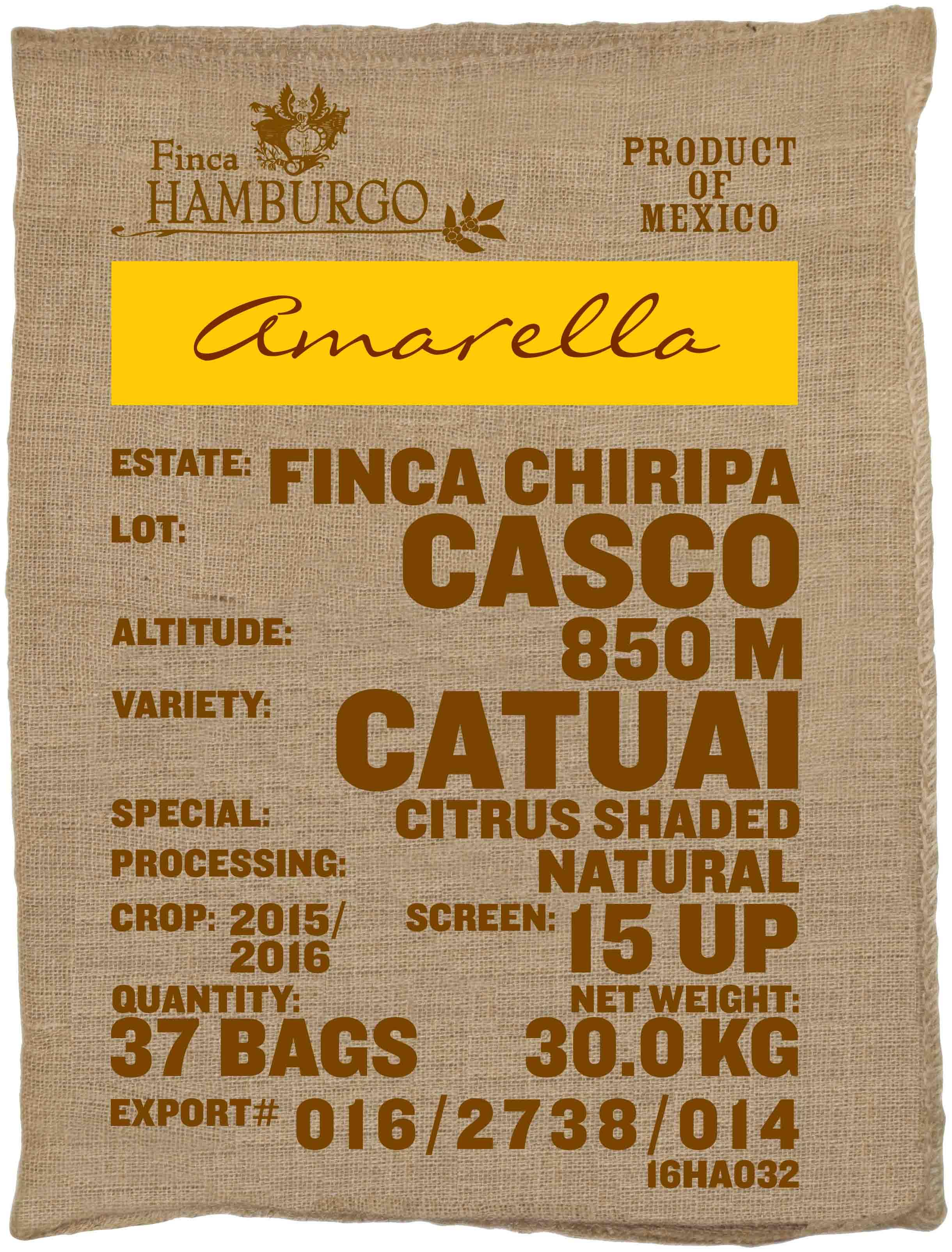 Ein Rohkaffeesack amarella Parzellenkaffee Varietät Catuai. Finca Chiripa Lot Chiripa.