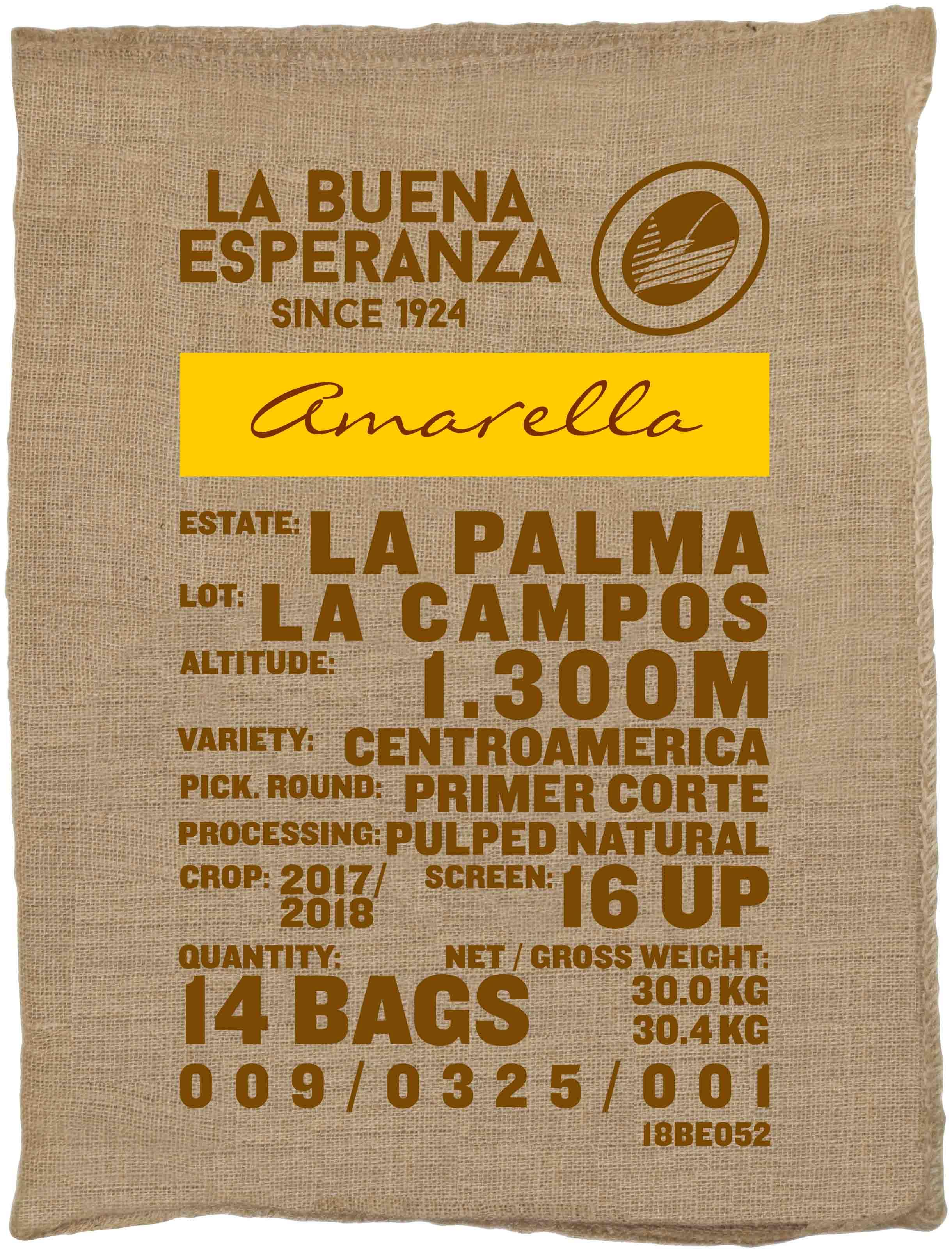 Ein Rohkaffeesack amarella Parzellenkaffee Varietät Centroamerica. Finca La Buena Esperanza Lot La Campos.