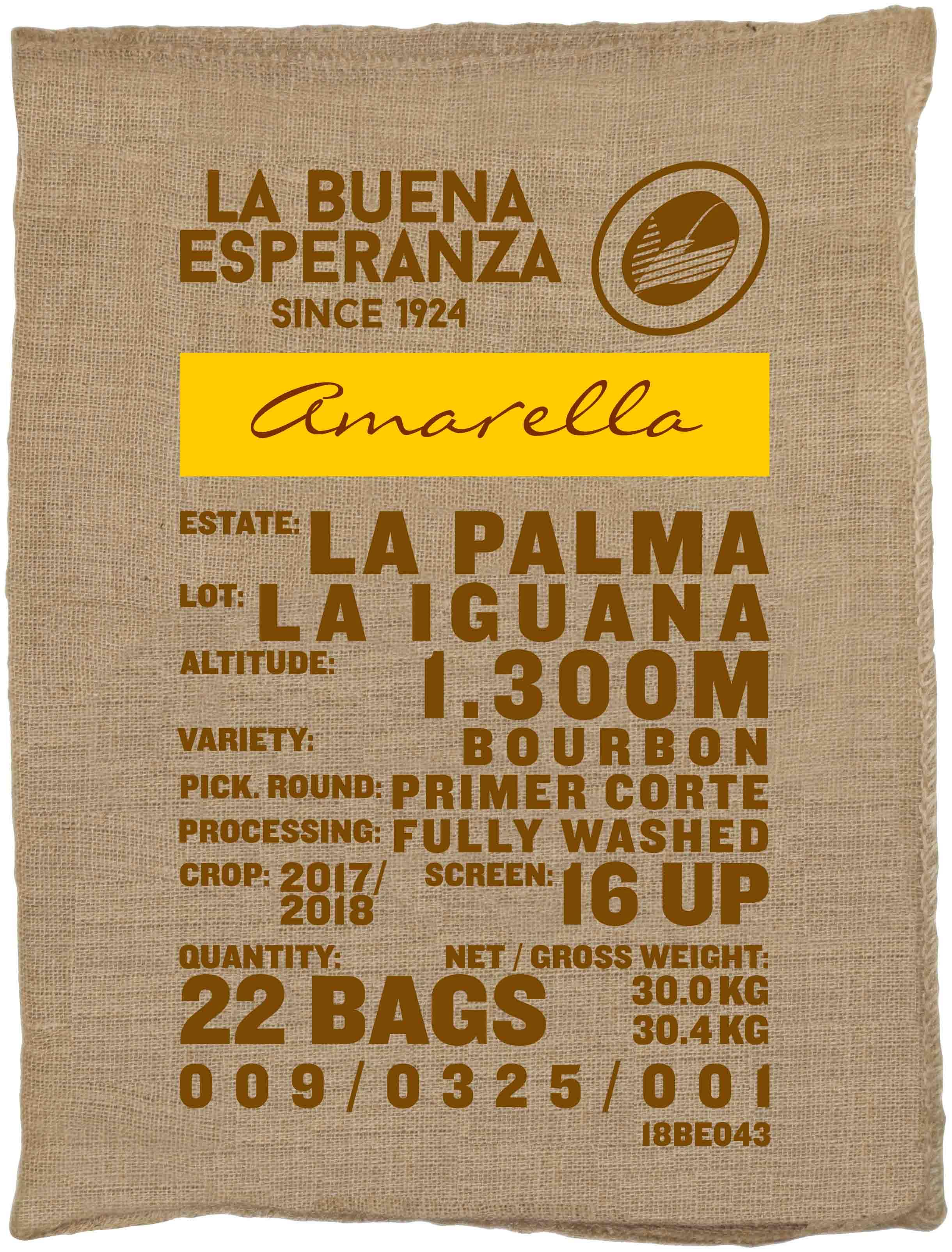 Ein Rohkaffeesack amarella Parzellenkaffee Varietät Bourbon. Finca La Buena Esperanza Lot La Iguana.