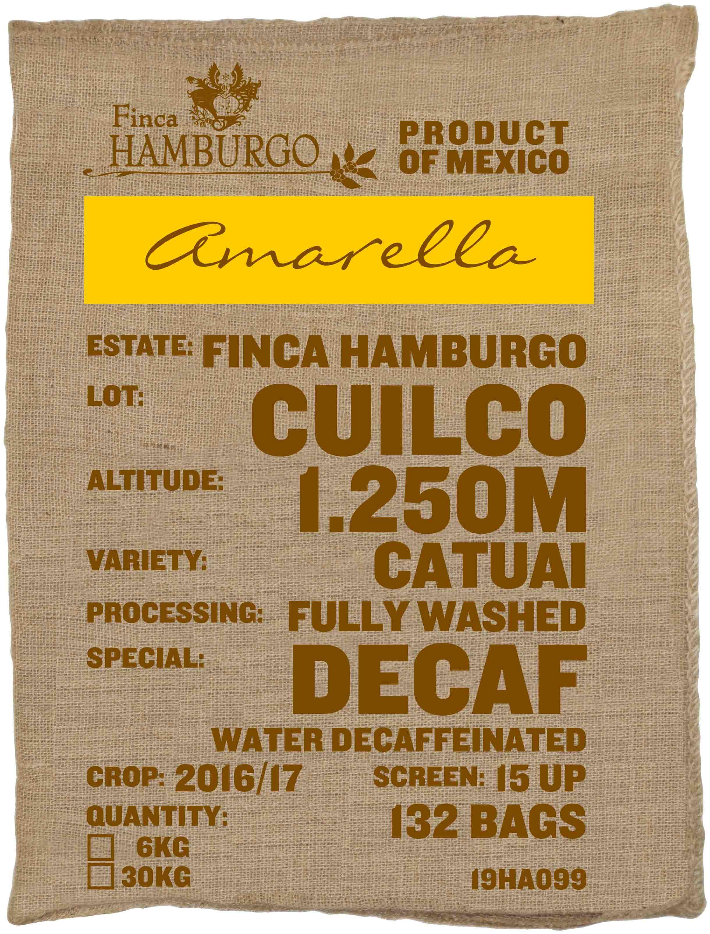 Ein Rohkaffeesack amarella Parzellenkaffee Varietät Catuia Decaf. Finca Hamburgo Lot Cuilco.