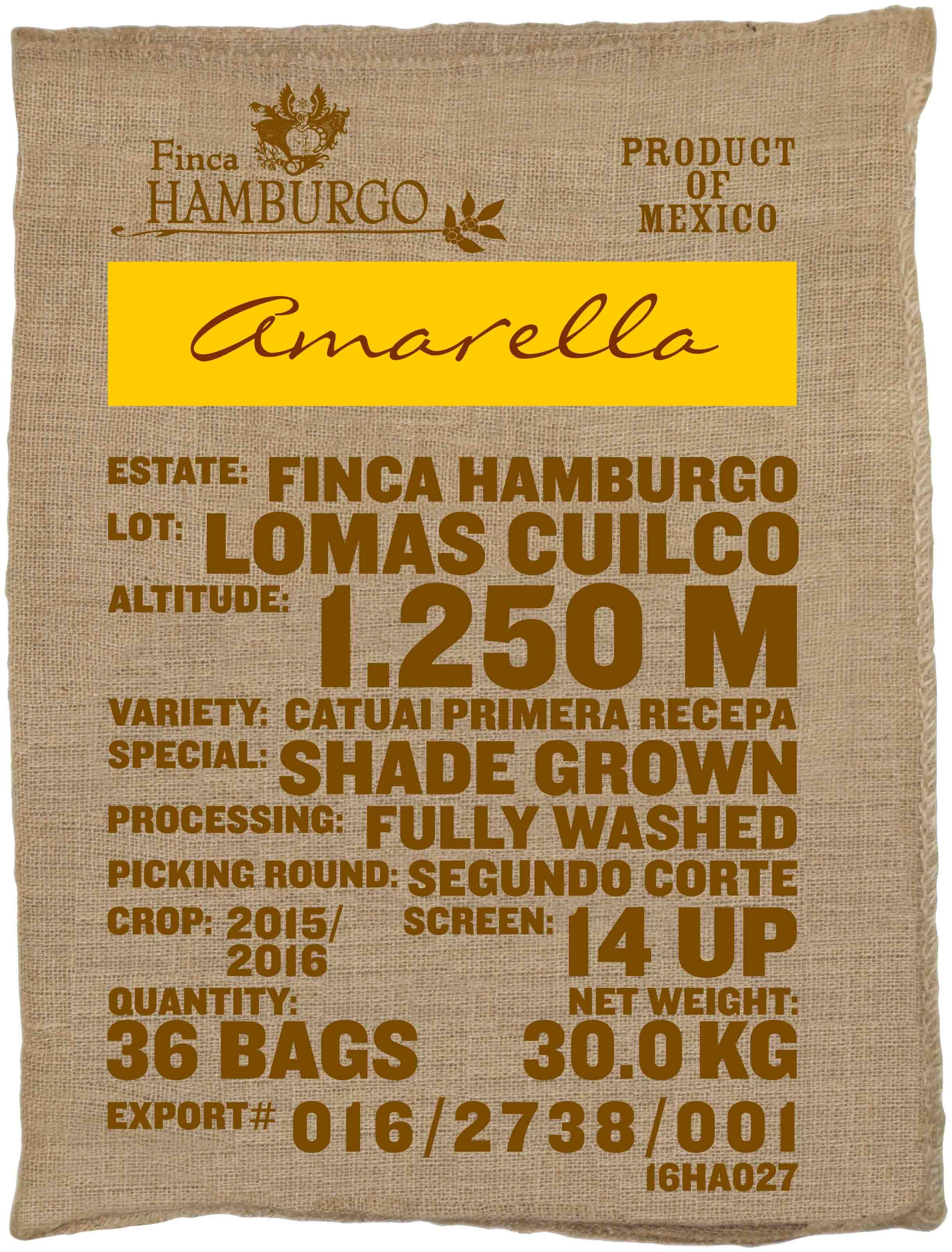 Ein Rohkaffeesack amarella Parzellenkaffee Varietät Catuai Primera Recepa. Finca Hamburgo Lot Lomas Cuilco.