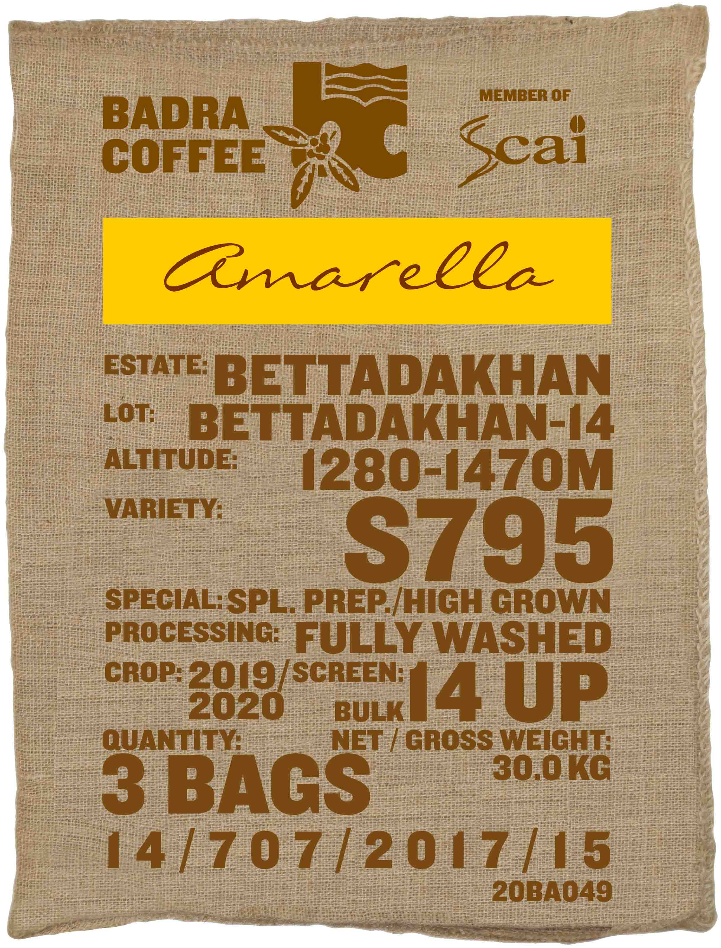 Ein Rohkaffeesack amarella Parzellenkaffee Varietät S795. Badra Estates Lot Bettadakhan 14.