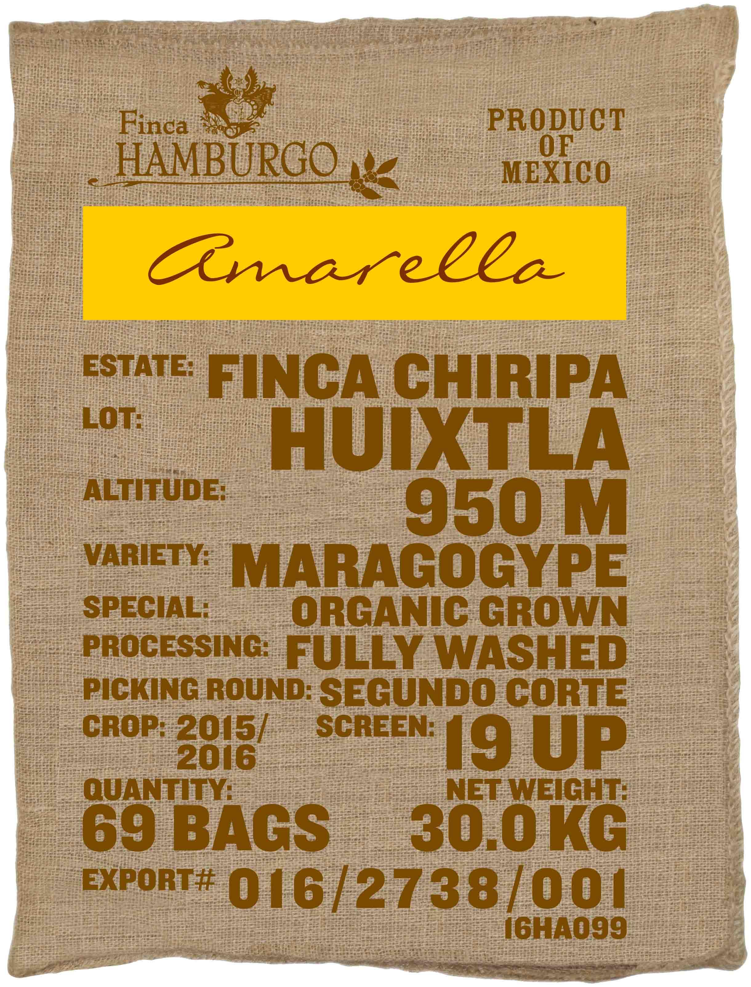 Ein Rohkaffeesack amarella Parzellenkaffee Varietät Maragogype. Finca Chiripa Lot Huixtla.