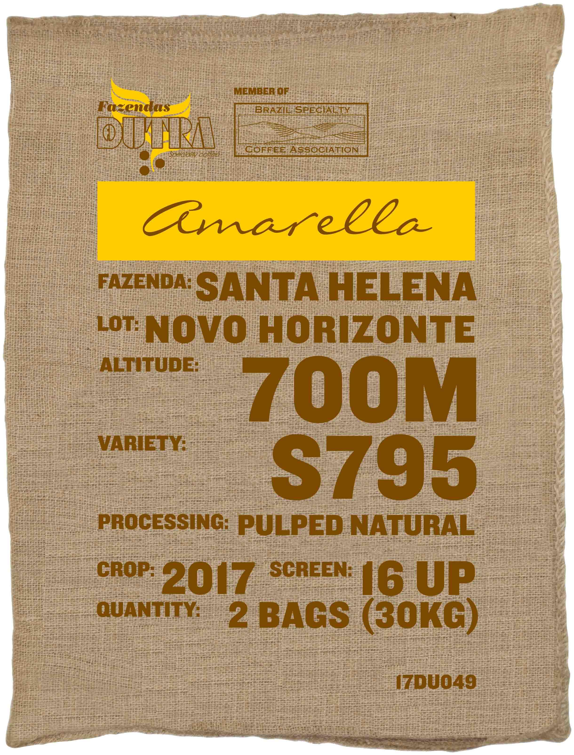 Ein Rohkaffeesack amarella Parzellenkaffee Varietät S795. Fazendas Dutra Lot Novo Horizonte.