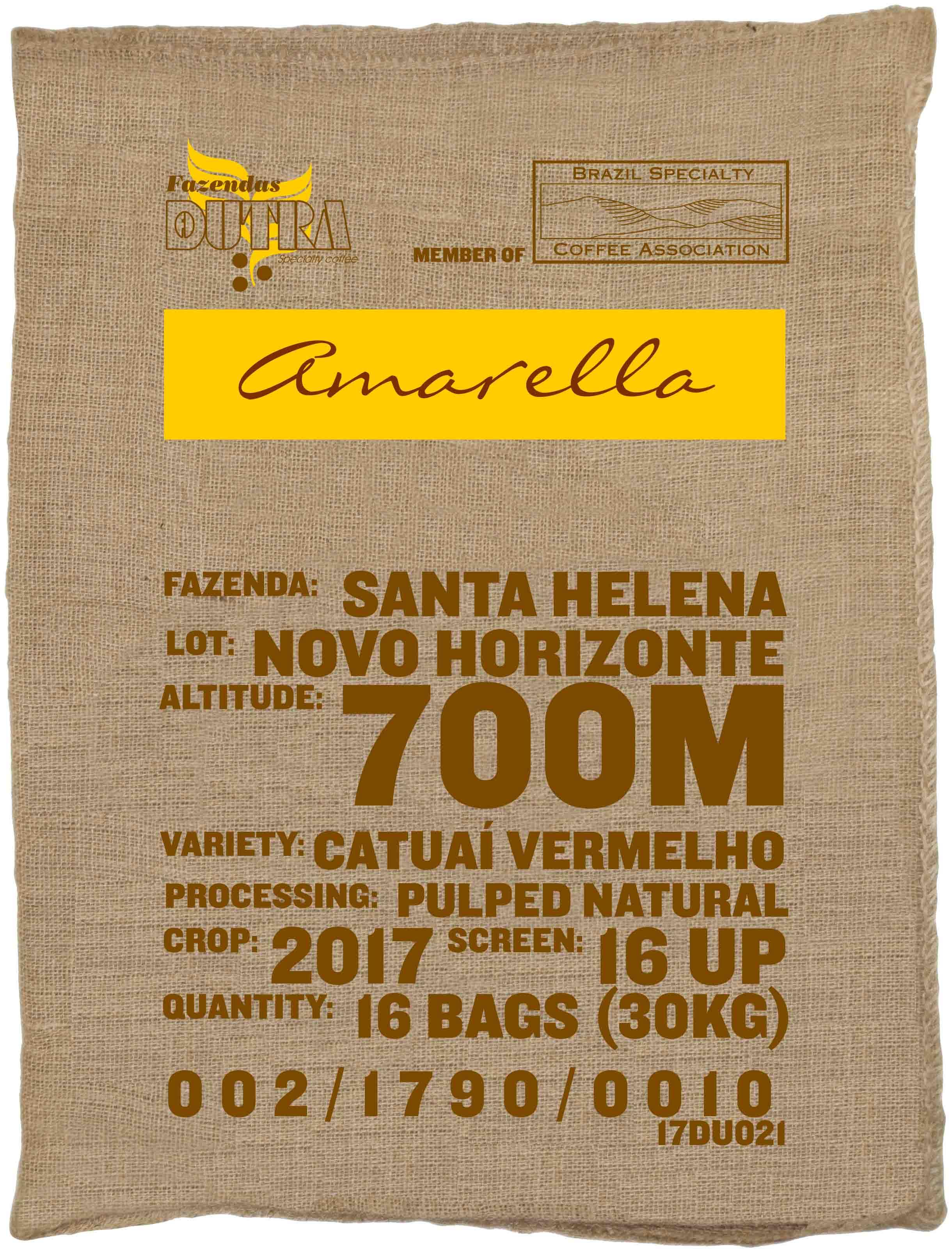 Ein Rohkaffeesack amarella Parzellenkaffee Varietät Catuai vermelho. Fazendas Dutra Lot Novo Horizonte.