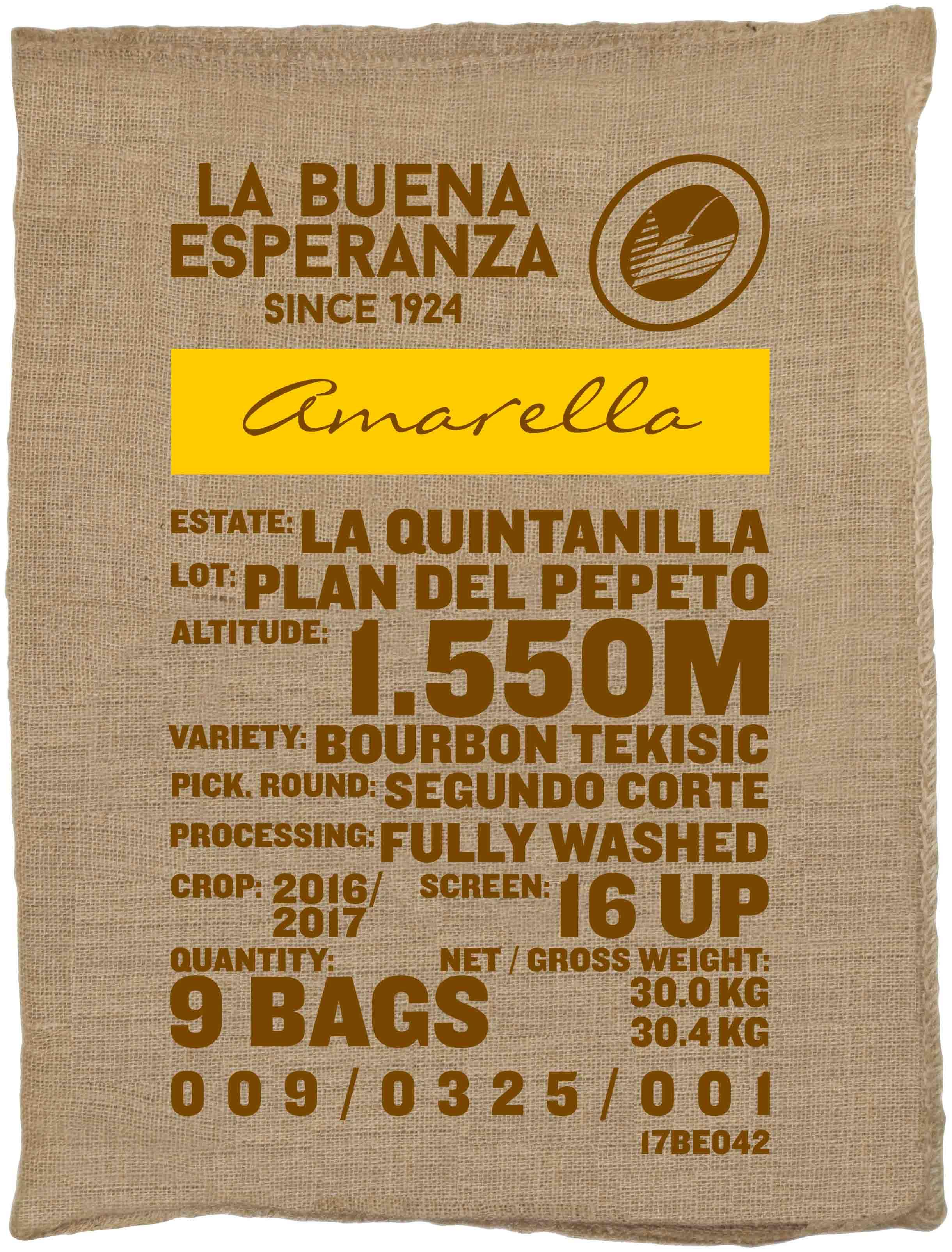 Ein Rohkaffeesack amarella Parzellenkaffee Varietät Bourbon Tekisic. Finca La Buena Esperanza Lot Plan del Pepeto.