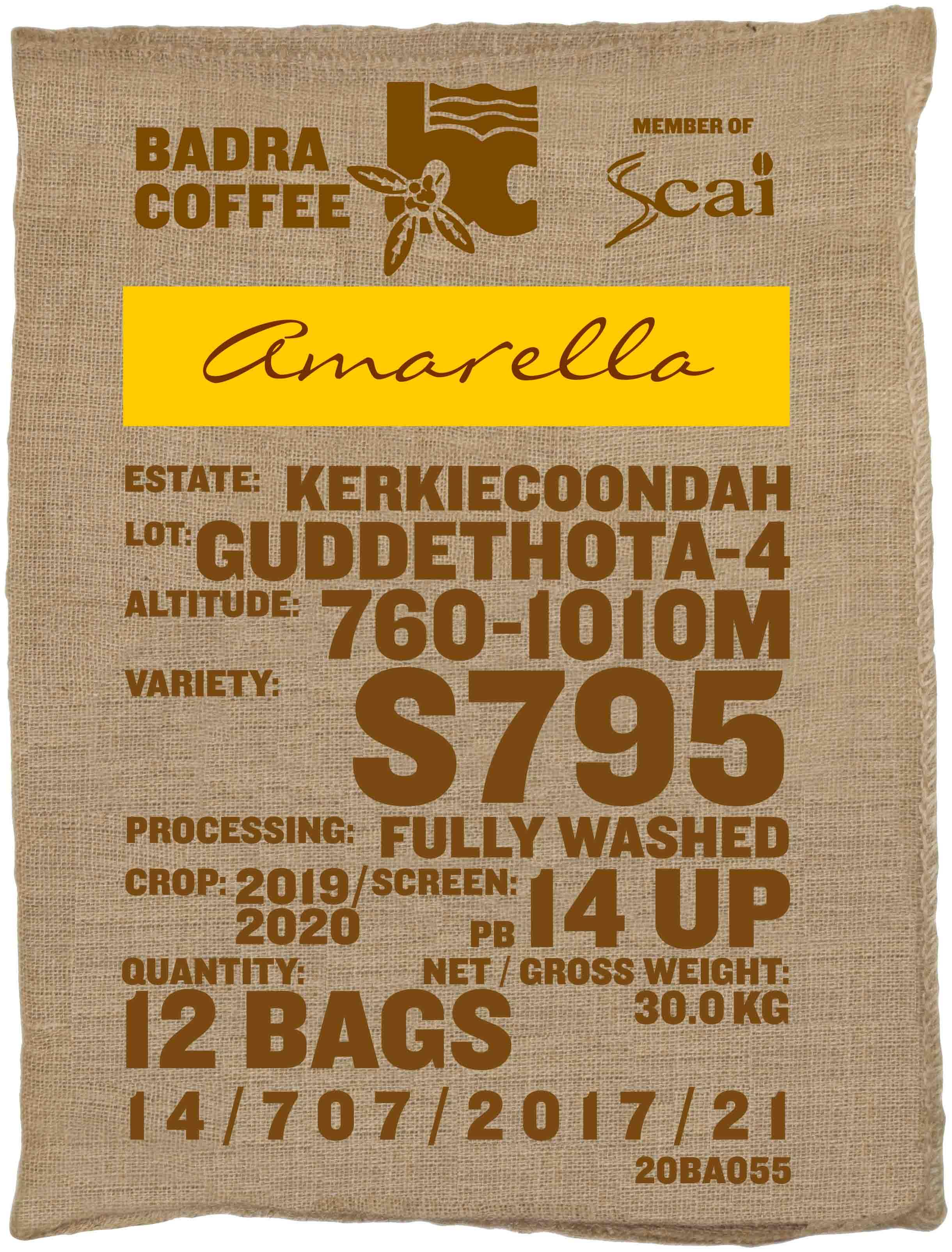 Ein Rohkaffeesack amarella Rohkaffee Varietät S795. Badra Estates Lot Guddethota 4.