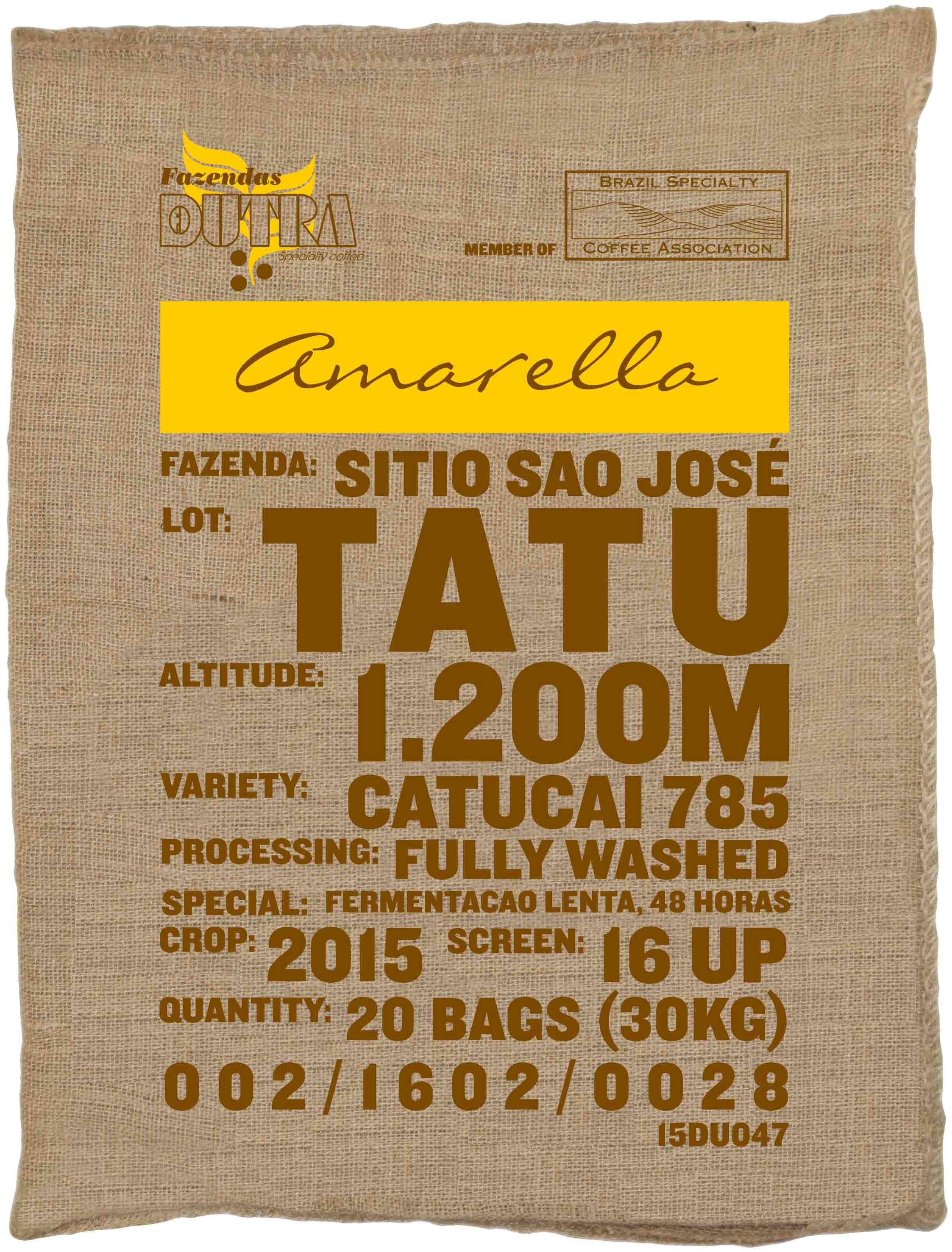 Ein Rohkaffeesack amarella Parzellenkaffee Varietät Catucai 785. Fazendas Dutra Lot Tatu.
