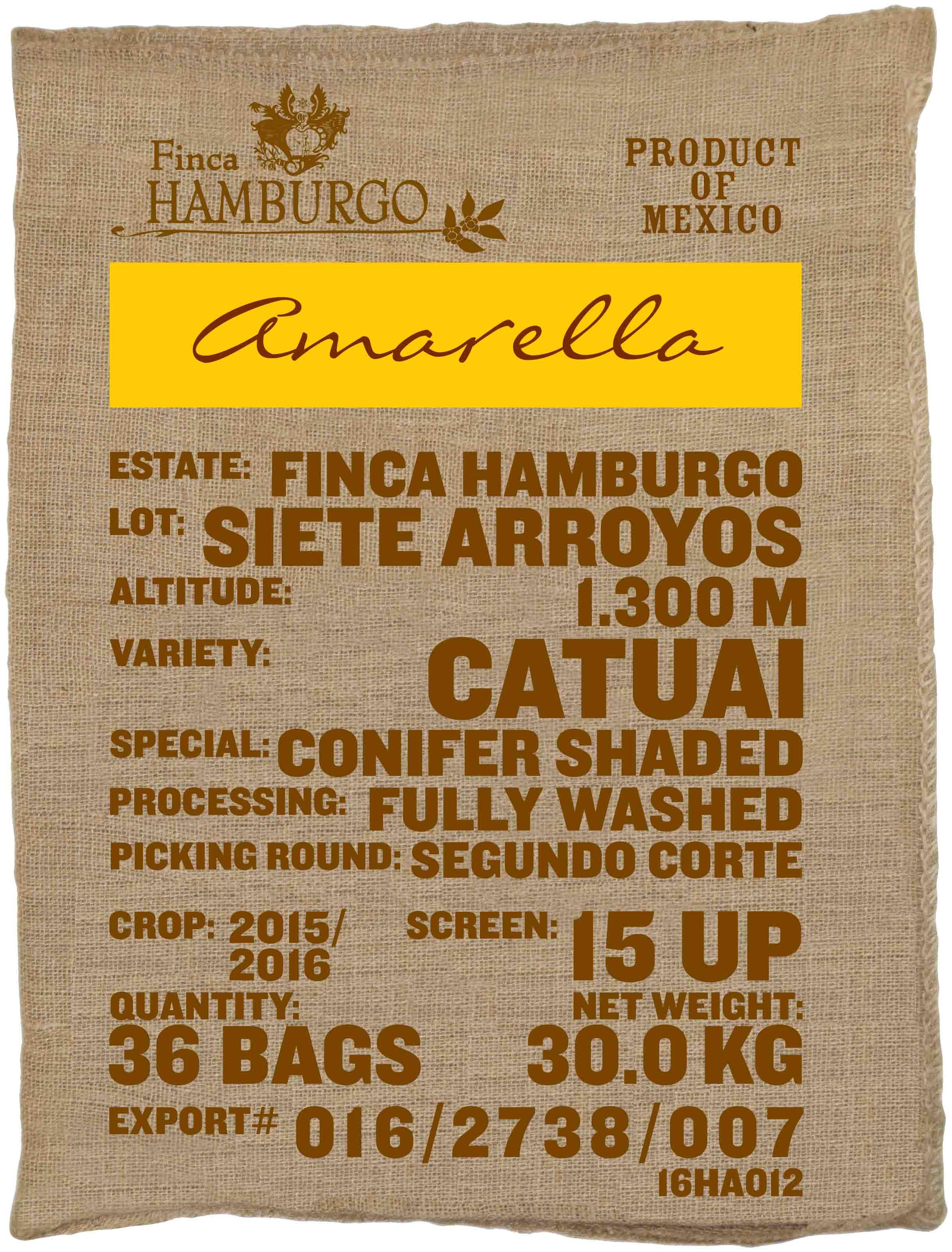 Ein Rohkaffeesack amarella Parzellenkaffee Varietät Catuai. Finca Hamburgo Siete Arroyos.