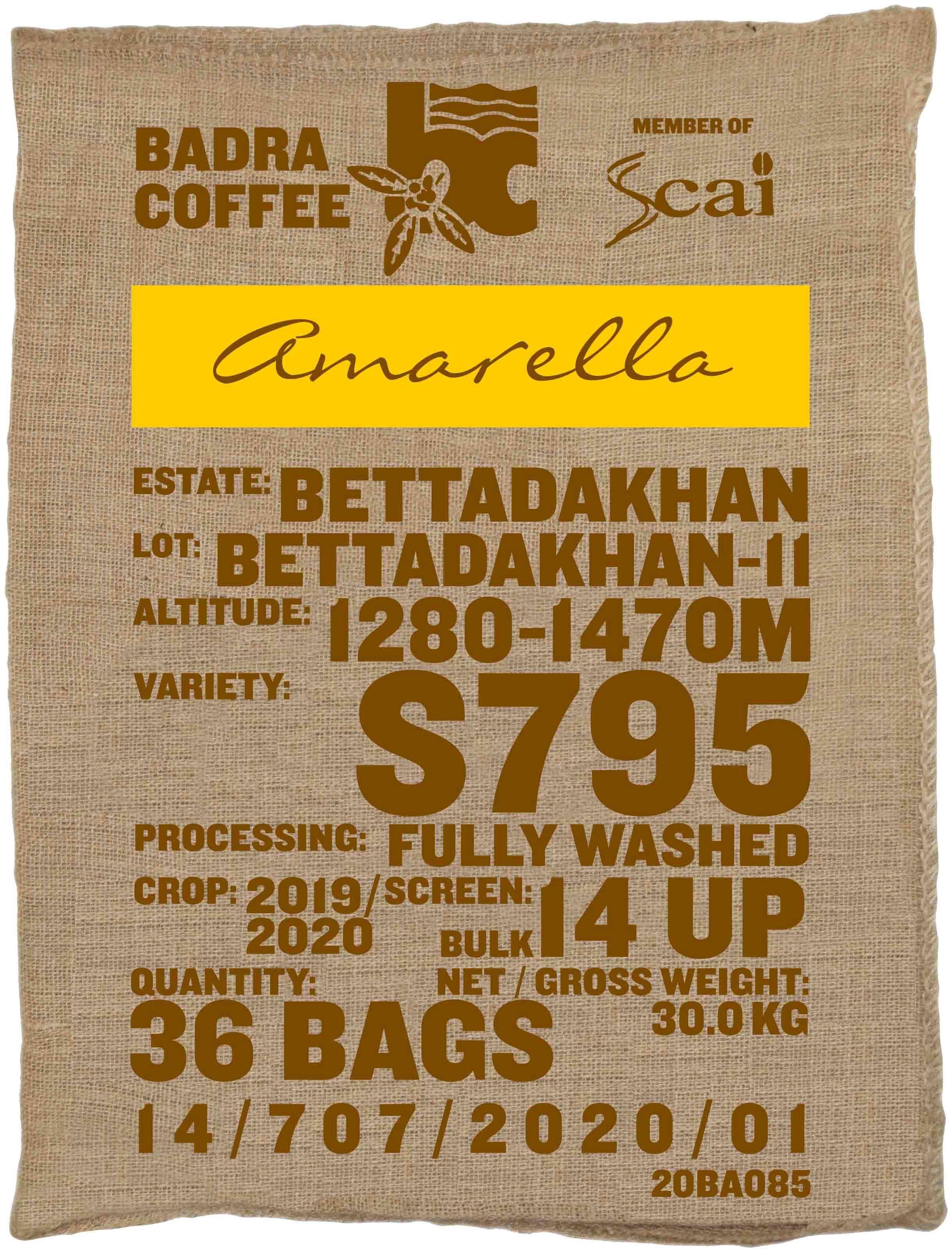 Ein Rohkaffeesack amarella Parzellenkaffee Varietät S795. Bara Estates Lot Bettadakhan 11.