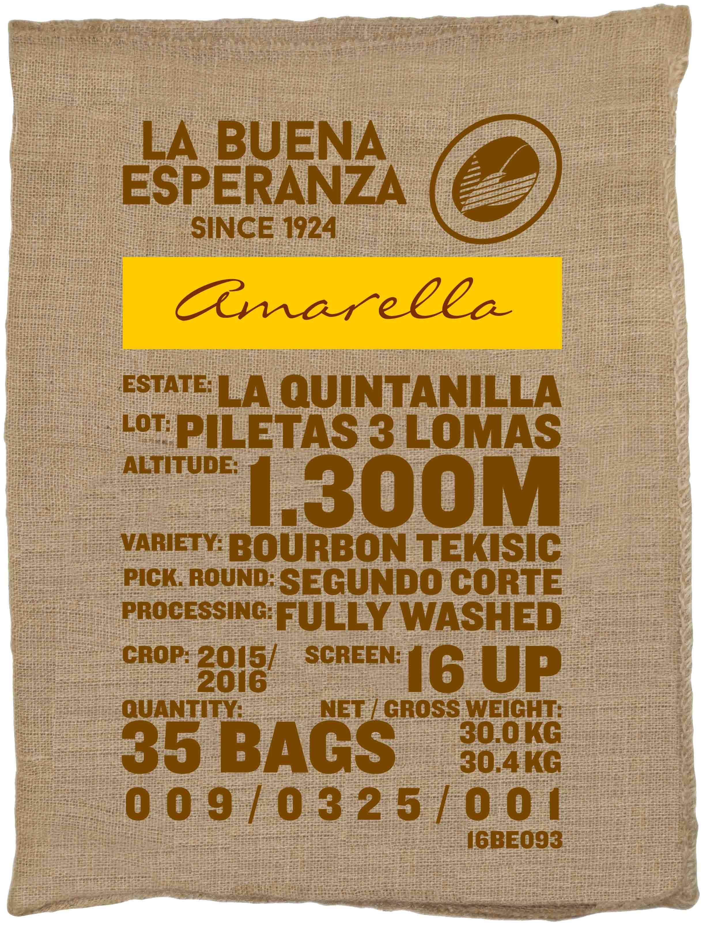 Ein Rohkaffeesack amarella Parzellenkaffee Varietät Bourbon Tekisic . Finca La Buena Esperanza Lot Piletas 3 Lomas.