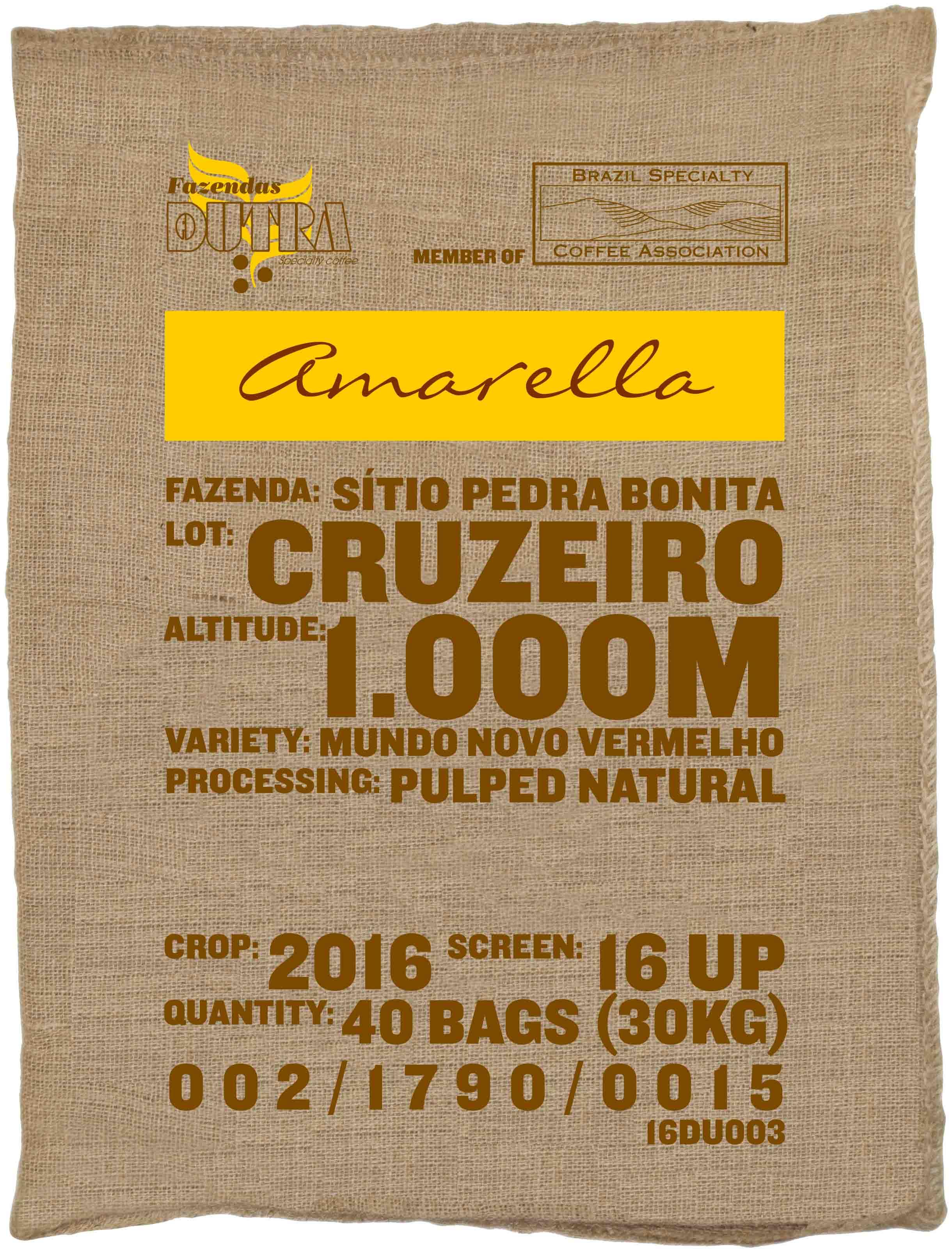 Ein Rohkaffeesack amarella Parzellenkaffe Varietät Mundo Novo vermelho. Fazendas Dutra Lot Cruzeiro.