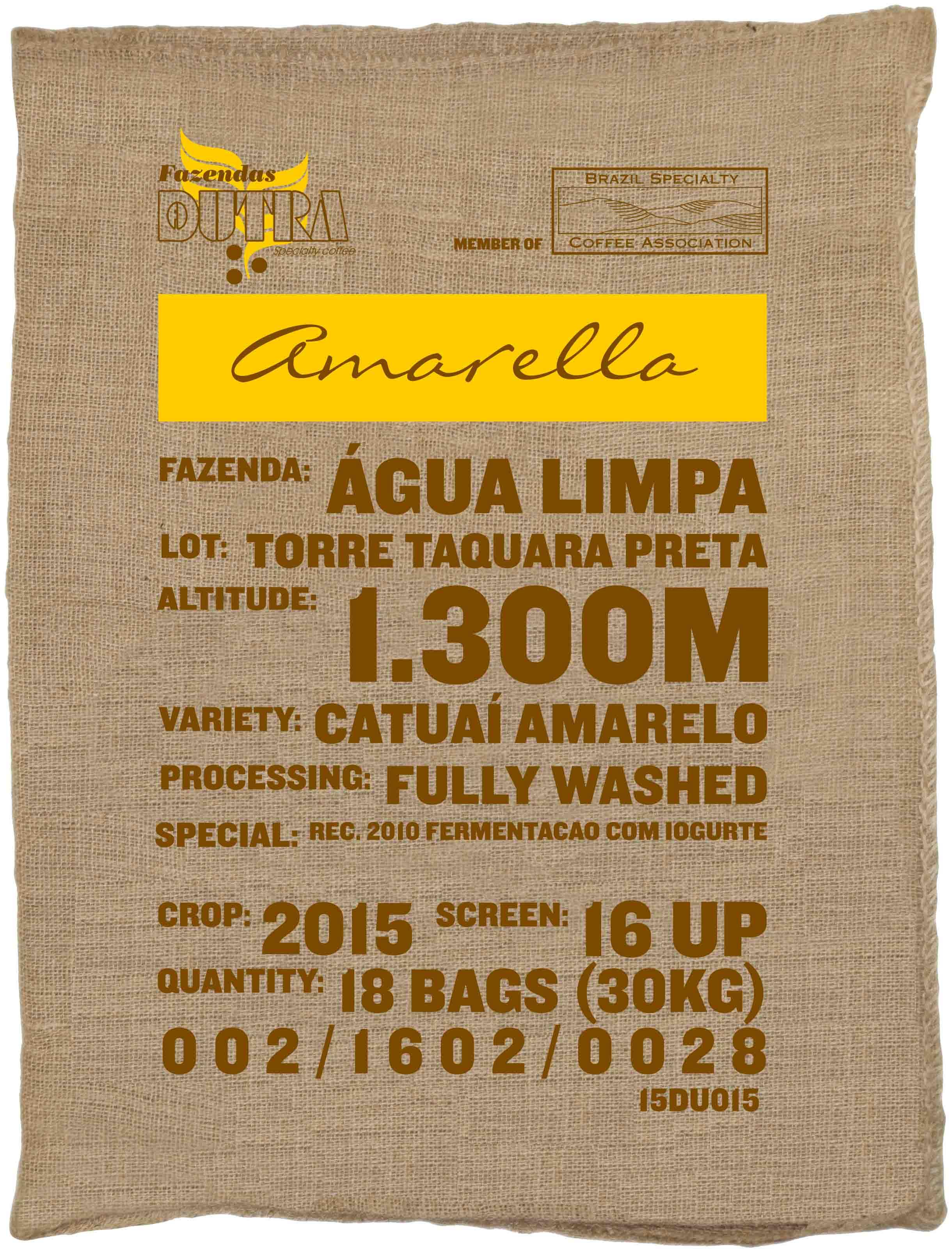 Ein Rohkaffeesack amarella Parzellenkaffee Varietät Catuai amarelo. Fazendas Dutra Lot Torre Taquara Preta.