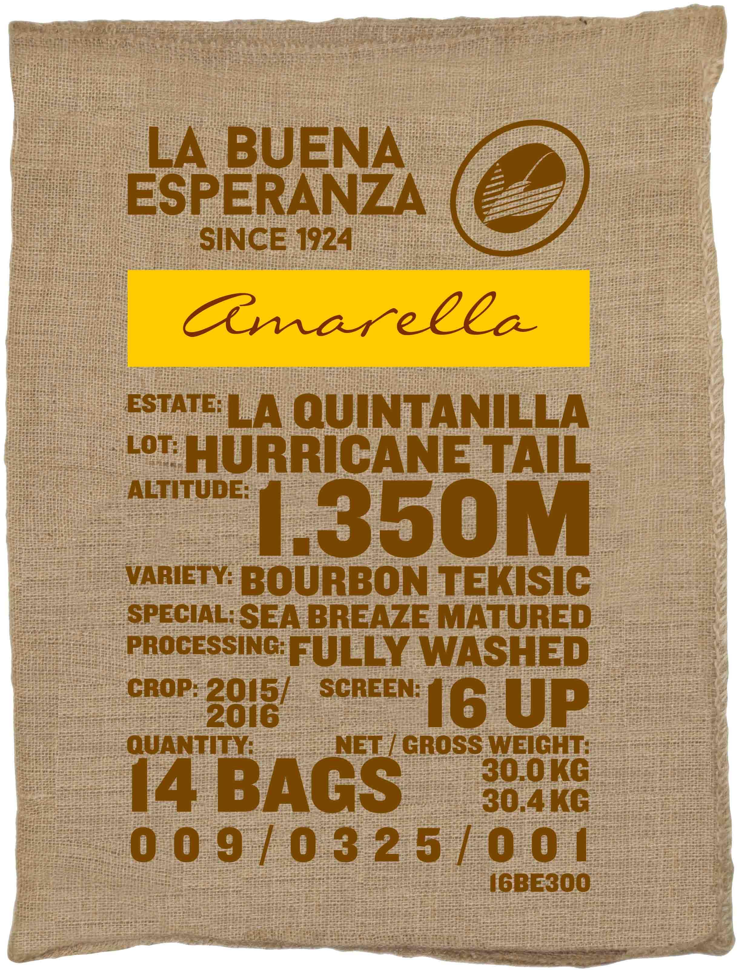 Ein Rohaffeesack amarella Parzellenkaffee Varietät Bourbon Tekisic. Finca La Buena Esperanza Lot Hurricane Tail.