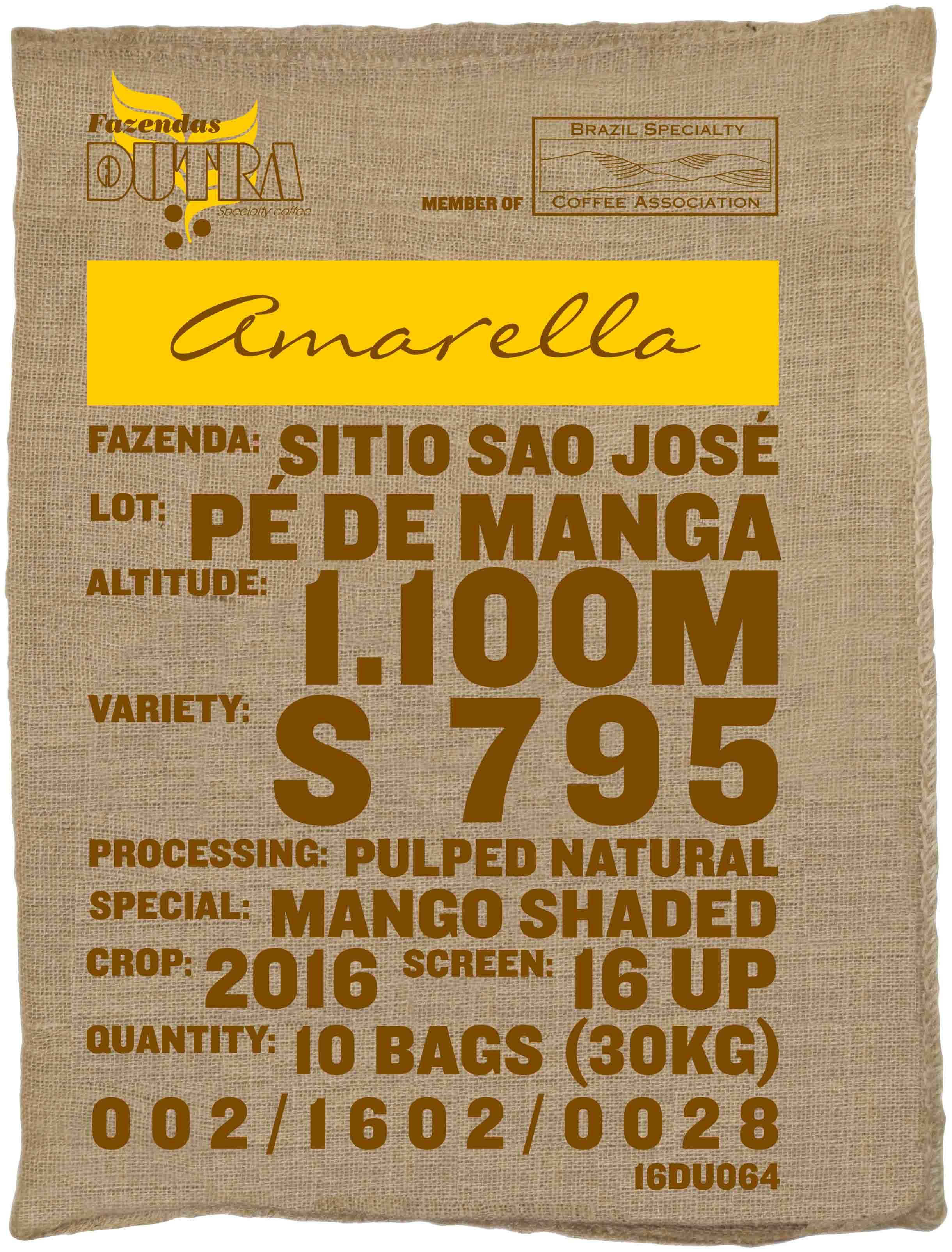 Ein Rohkaffeesack amarella Parzellenkaffee Varietät S795. Fazendas Dutra Lot Pe de Manga.