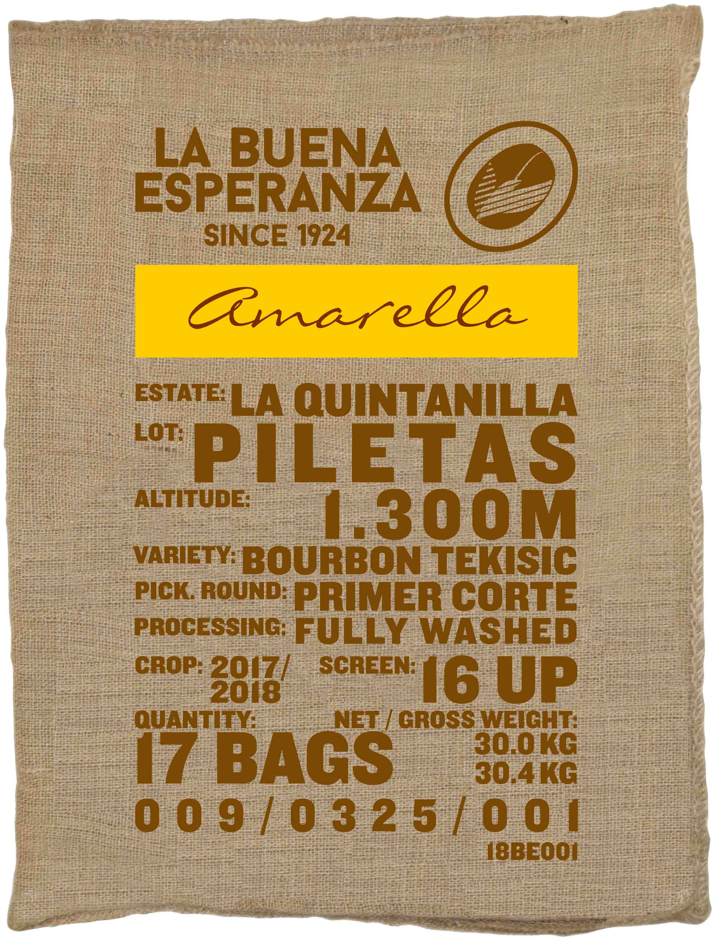 Ein Rohkaffeesack amarella Parzellenkaffee Varietät Bourbon Tekisic. Finca La Buena Esperanza Lot Piletas.