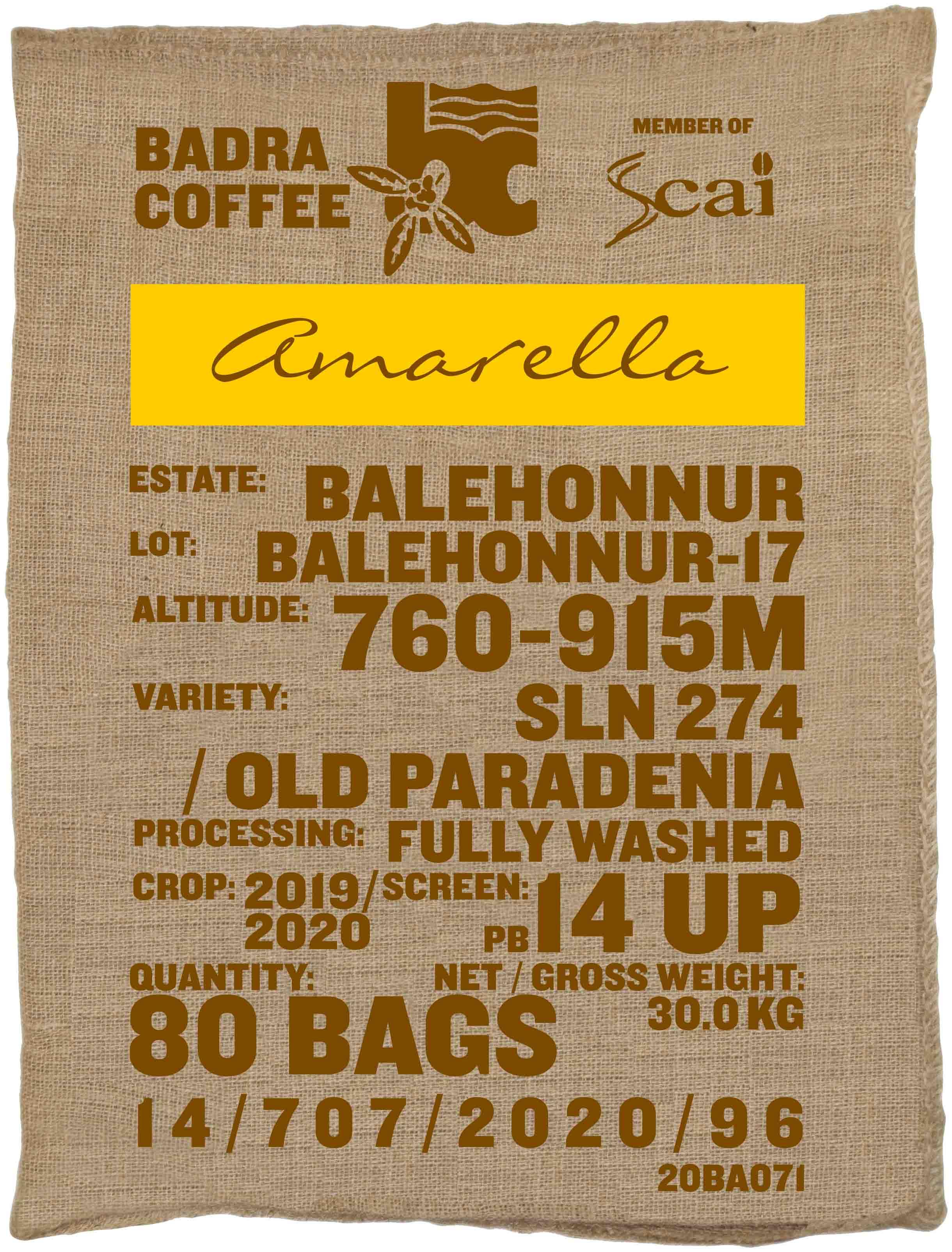 Ein Rohkaffeesack amarella Parzellenkaffee Varietät SLN 274/Old Paradenia. Badra Estates Lot Balehonnur 17.