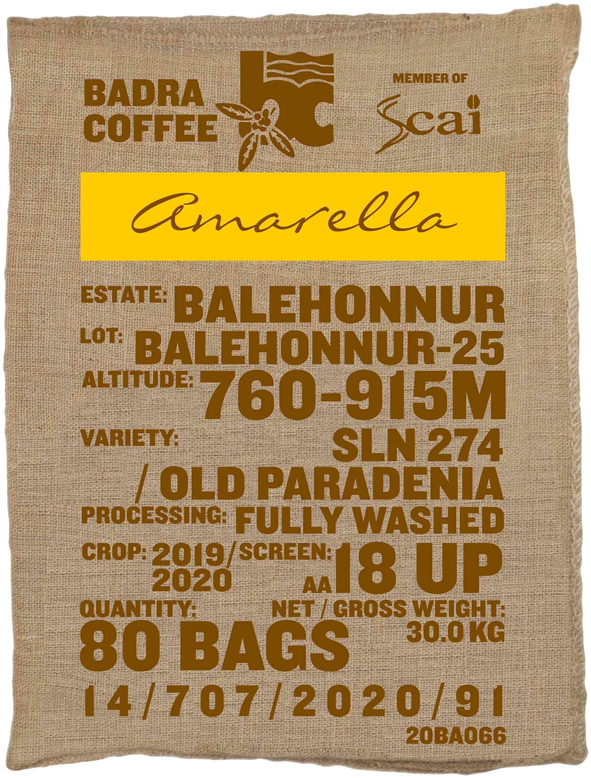 Ein Rohkaffeesack amarella Parzellenkaffee Varietät SLN 274/Old Paradenia. Badra Estates Lot Balehonnur 25.
