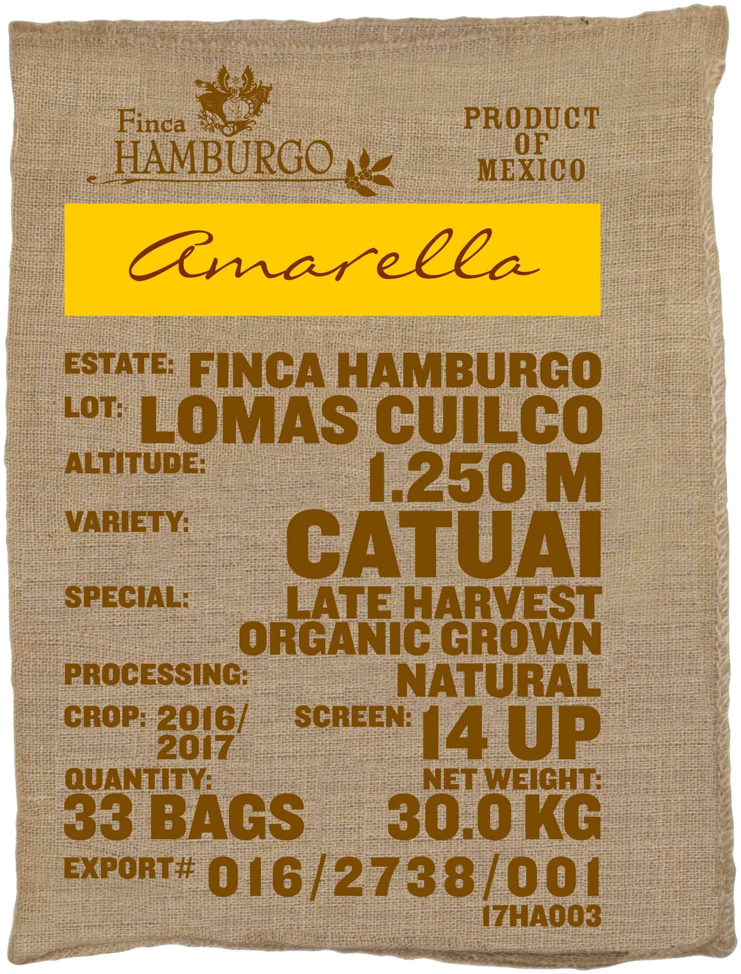 Ein Rohkaffeesack amarella Parzellenkaffee Varietät Catuai. Finca Hamburgo Lot Lomas Cuilco.
