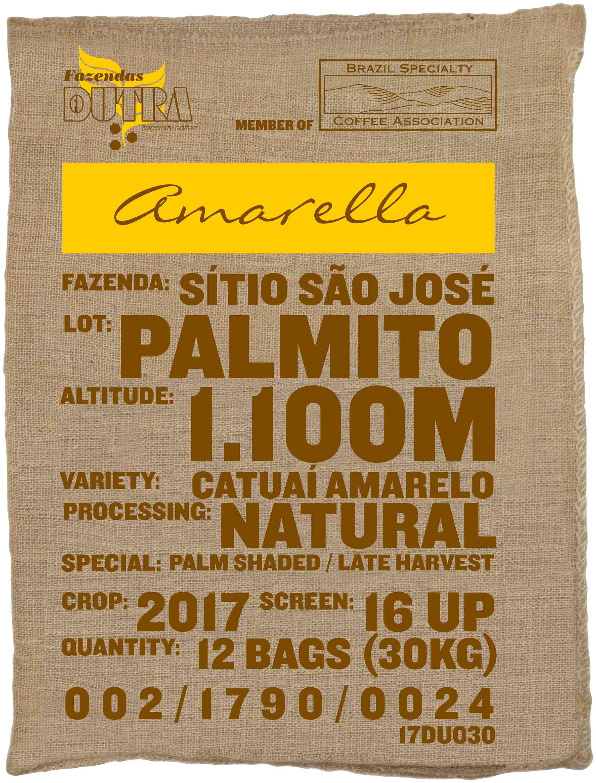 Ein Rohkaffeesack amarella Parzellenkaffee Varietät Catuai amarelo. Fazendas Dutra Lot Palmito.